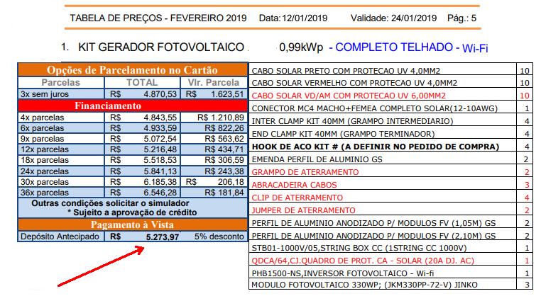 tabela de preço kits de energia solar